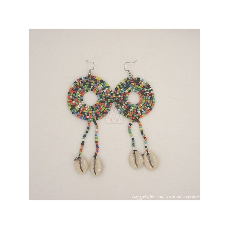 MultiColor Cowrie Shell Earrings 469-44
