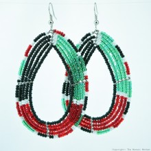 Maasai Tear Drop Kenya Flag Earrings 690-5-91