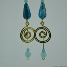 Brass Wire Coil Tear Drop Bead Earrings 579-29