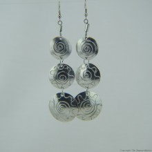 Recycled Aluminium Tiered Disk Earrings 592-8