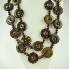 Brown Wood Disk Bead Boho Necklace