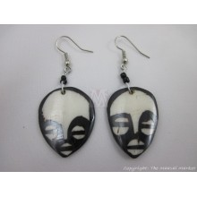 Large Ethnic Tribal Mask Bone Maasai Earrings 622-61