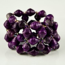 Recycled Purple Paper Bead Elastic Bracelet