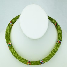 Maasai Olive Green with Multi Color Bead Necklace