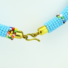 Maasai Light Blue with Multi Color Bead Necklace