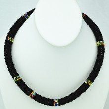 Maasai Black with Multi Color Bead Necklace