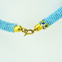 Maasai Transparent Blue with Multi Color Bead Necklace