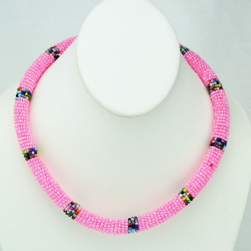 Maasai Pink with Multi Color Bead Necklace