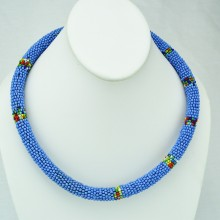 Maasai Blue with Multi Color Bead Necklace