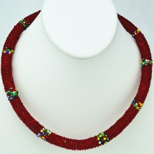 Maasai Red with Multi Color Bead Necklace