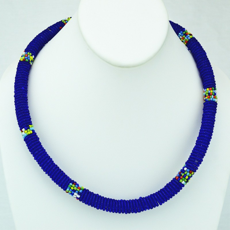 Maasai Dark Blue with Multi Color Bead Necklace