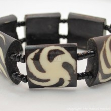 Mud Cloth Print Spin Wheel Bone Bracelet