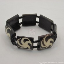 Mud cloth print Bulls Eye Bone Bracelet