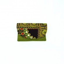 Small Olive Green Jute Kitenge Fabric Clutch