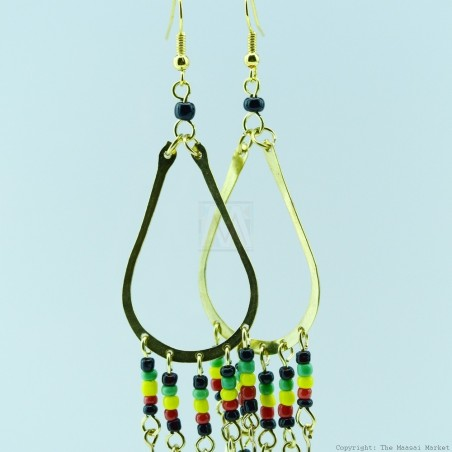 Brass Masai Beads Rasta Earrings