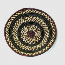 Uganda Handmade Banana Leaf/ Raffia Cross Stitch Basket