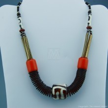 Ethnic Necklace Mixed Material Trade Beads