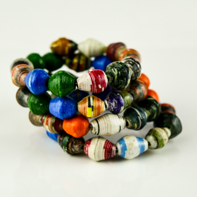 Recycled Paper Bead Coiled Bracelet