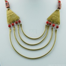 Maasai Trade Bead Brass Strand Necklace
