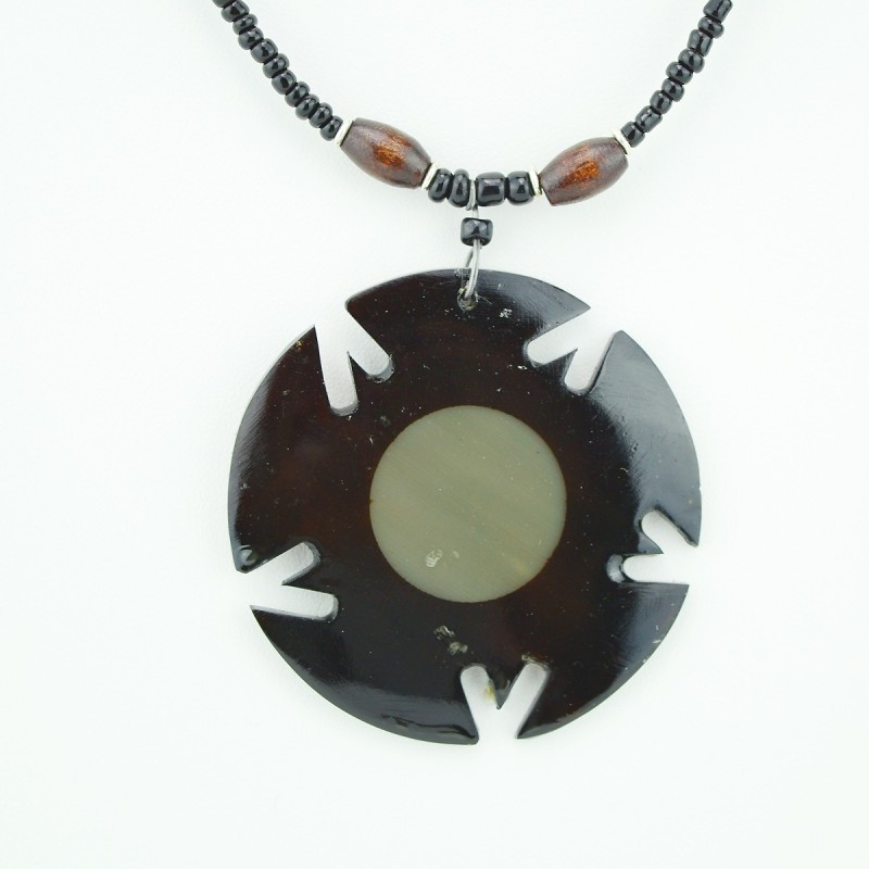 Round cow horn pendant necklace aloadofball Gallery