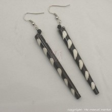 Long Batik Maasai Dangle Bone Earrings 623-54
