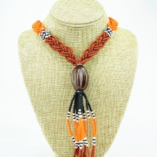 Multi Color Braided Maasai Bead Tassel Necklace