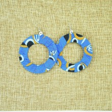 Large Round Kitenge Fabric Hoop Earrings