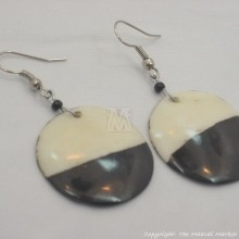 Cow Bone Half Moon Maasai Earrings 598-60