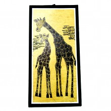 Mother and Baby Giraffe Banana Fiber Art