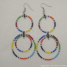Large Maasai Multi-color Bead Round Earrings