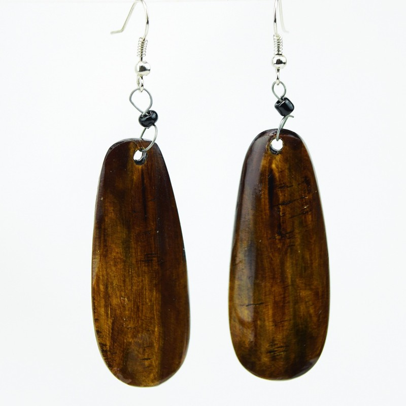 Oblong Cow Horn Earrings