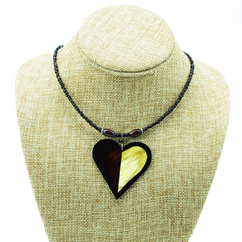 Heart shape cow horn pendant necklace mozeypictures Image collections