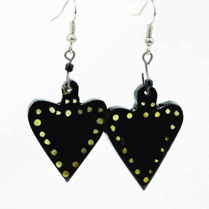 Polka Dot Heart Cow Horn Earrings
