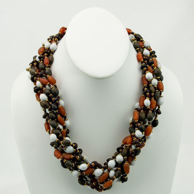 necklace pearl strand black set neck white multi