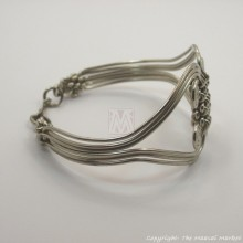 Silver Coil Weave Bracelet Bangle Closed
