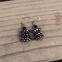Batik Print Bone Disk Bead Earrings