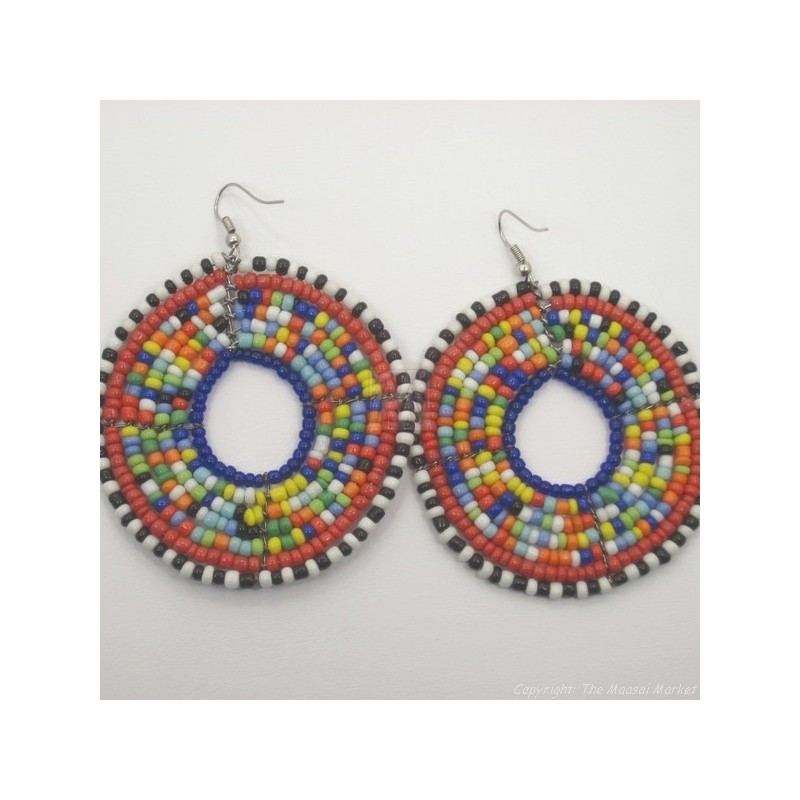 Large Round Multi Color Maasai Earrings