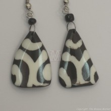 Mudcloth Print  Bone Triangle Earrings 682-8