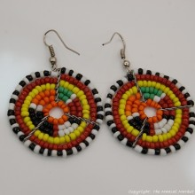 Small Masai Bead Multi Color Dangle Earring 689-94-2