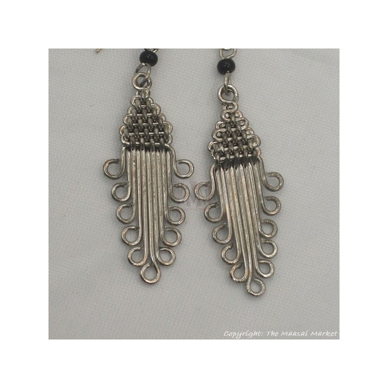Silver Wire Maasai Bead Arrow Head Earrings