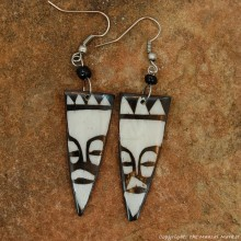 Tribal Mask Cow Bone Maasai Earrings 699-61