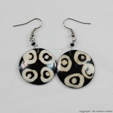 Round Mud Cloth Print Batik Earrings 500-2-44