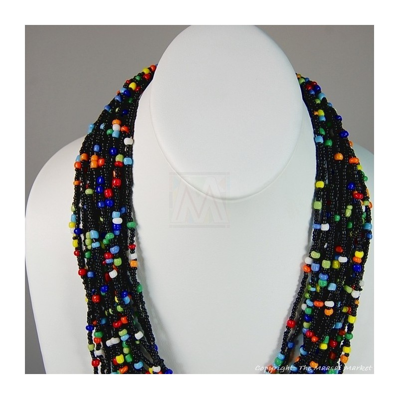 Multi Color Strand Maasai Bead Necklace 707-1-91