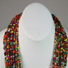 Multi Color Strand Maasai Bead Necklace 707-4-91