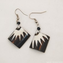 Batik Print Cow Bone Masai Earrings 714-87