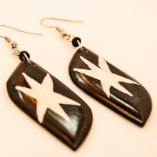 Batik Star Print Cow Bone Masai Earrings 713-87