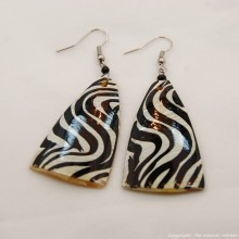 Zebra Cow Horn Earrings 323-60