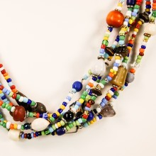 Maasai Necklace Mixed Material Bead 717-58