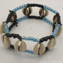 Maasai Cowrie Shells Elastic Bracelet (iridescent blue and black maasai beads)
