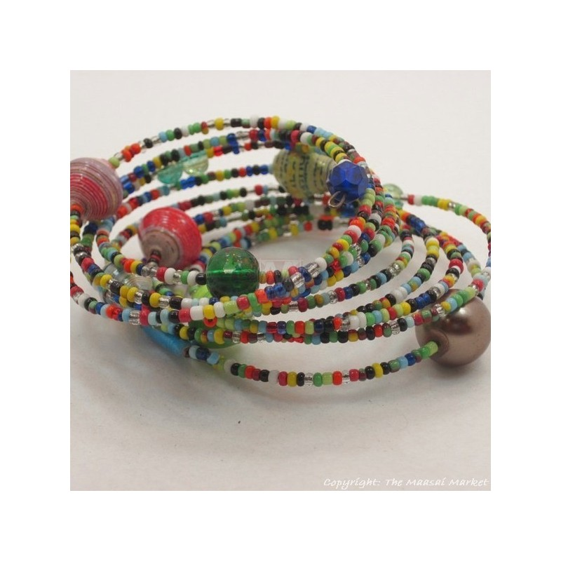 Coiled Wire Wrap Maasai Paper Bead Bracelet